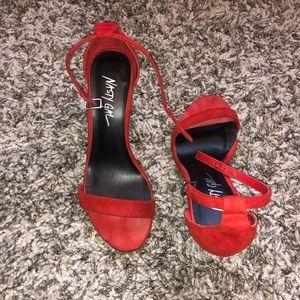 Nasty Gal red suede high heels